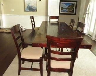 """$250.00, 42 w x 10' with leave 72"""" w/o. 6 chairs and optional bench Vg condition"""