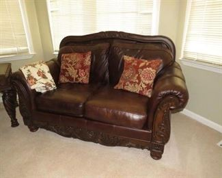 """$260.00, Leather loveseat  Vg condition, 70 w by 38"""" deep"""