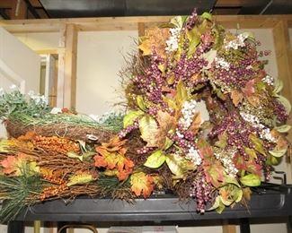 Really nice wreaths and Holiday decor