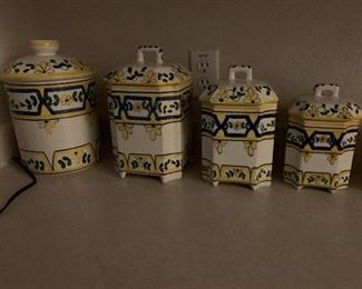 SET OF FOUR CERAMIC CANISTERS   BY JAY WILLFRED ANDREA BY SADEK