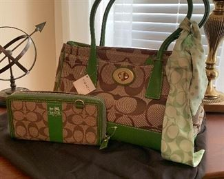 $78- Coach purse and matching billfold , scarf and bag