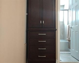 Dark Chestnut Linen Tower with Shelved Cabinet Storage and 4 Drawers  $100