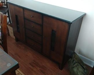 Rustic 4 Drawer Wooden Server with 2 Side Cabinets and Grain Details, Brown  $850