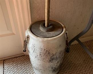 Old Stoneware Butter Churn