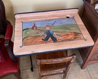 Hand Painted Old School Desk