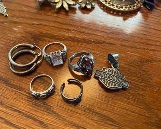 Sterling Rings/Sterling Harley Pendant