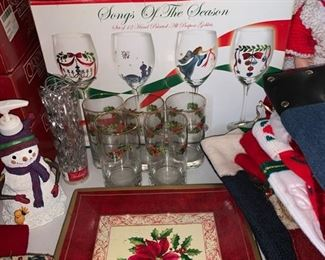 Songs of The Season Hand Painted Goblets