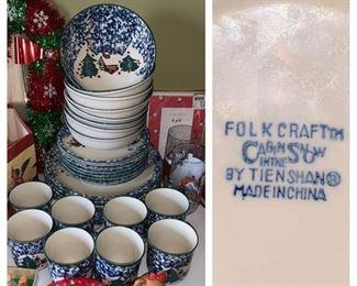 "Folk Craft ""Cabin In The  Snow"" Dinnerware"