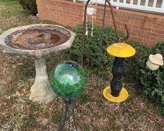 Bird Bath and Feeders