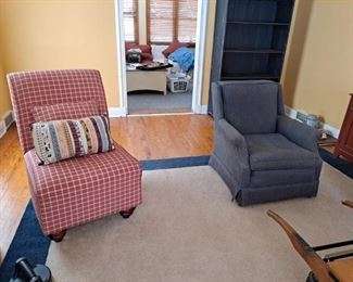 Red & White Checked Upholstered Side Chair and Blue Upholstered Casual Chair