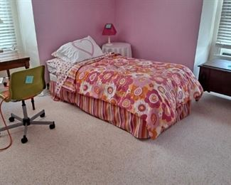 Pair of Twin Bed Frames and Foundation; along with a Steelcase style Rolling Task Chair; this pink white and orange bedding will be sold as well.