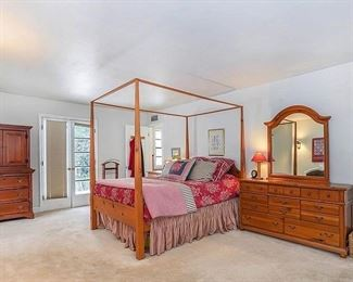 Bedroom Furniture will include:  Pine Armoire; Long Pine Dresser with Mirror; and Pine 4-Poster Bed Frame (foundation NOT included)