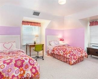 Pair of Twin Beds with Foundation, Antique Hope Chest, Side Tables, Green Rolling Chair ..... Headboards and wood table between beds will not be available for sale.