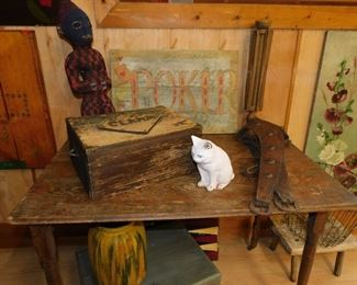 Sewing Table, Chalk Ware, African Beadwork
