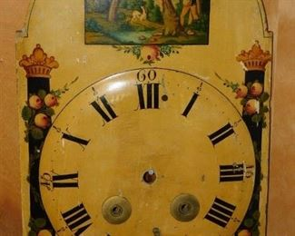 Painted 19thC. Clock Face with Hunter and Dog