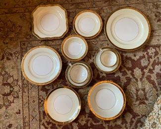 """16 place setting  of Noritake in the """"Gold Kin"""" pattern, many extra pieces plus extra cups& saucers"""