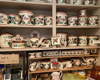 Many pieces of Bauer pottery in Strawberry pattern