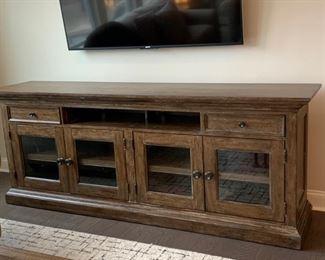 "92"" entertainment unit (Bassett Furniture).  $350"