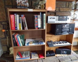 book cases, books, electronics