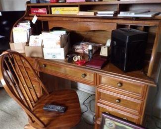 roll top desk & office chair & supplies