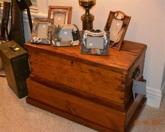 Antique chest with glove box and stand