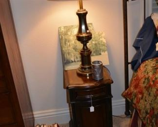 Lovely bedside table and brass lamp Vintage books