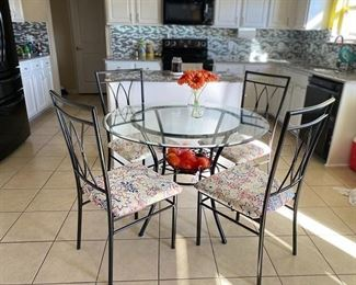 Glass Top Breakfast Table and 4 Matching Chairs