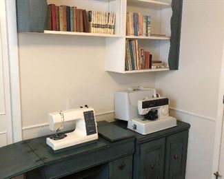 Kenmore sewing machine with cabinet, singer sewing machine.
