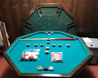 Three in one table. Bumper pool table, poker table, or regular table