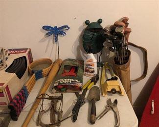 Assorted golf clubs some with hickory shafts. Al Kaline baseball bat.