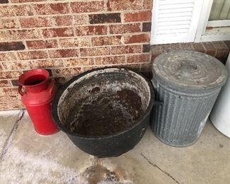 Large cast iron kettle