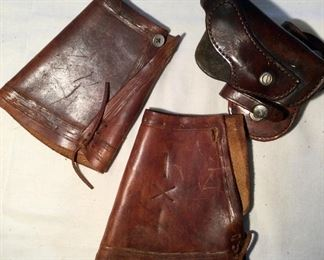 Vtg. Western Arm Cuffs.  Hand Tooled Leather:  $75.00.  Vtg. Leather Bucheimer Semi-Shoulder Holster:  $24.00