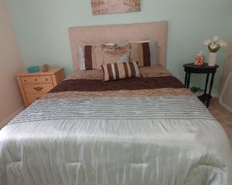 Queen  Bed, Headboard, Night Stand, Side Table, Painting