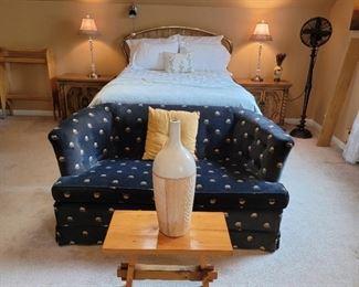 Bed: 51 x 55 (full), Loveseat: 29 x 56 x 33, trestle bench: 18 x 21 x 12
