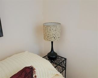 """lamp: 18""""h, table: 27 x 10"""