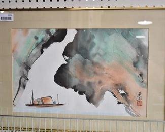 "Landscape and Boat | Sumi Ink | Anita Wong | Gold Tone Metal | 17.25"" x 24.25"""