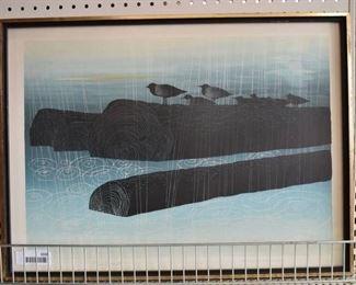 "Rain on the River | Silk Screen Print | Elton Bennett | Vintage Wood Frame | 19"" x 25.75"""