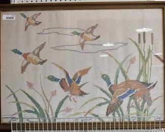"Ducks in Flight | Cross Stitch | G.L.H 1942 | Vintage Wood Frame | 26"" x 36"