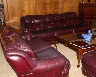 royhill leather sofa, love seat, armchair and ottomans