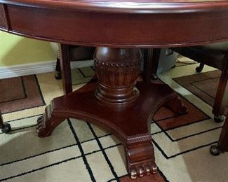 Round mahogany table with claw foot base