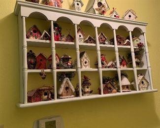 Tea Cup display shelf with birdhouses