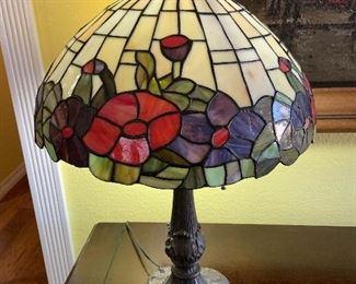 tiffany style slag glass lamp, 2 matching