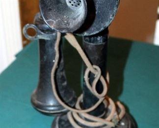 "Antique Kellogg Candlestick Telephone, 11.5"" Tall"
