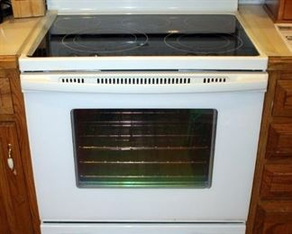 "Whirlpool Electric Smooth Surface Four Burner Range, Model GFE461LVT, Off White, 37"" x 30"" x 27.5"","