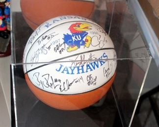 KU Autographed Basketball Signed By Roy Williams And Team, 1997-1998 Season, With Display Case
