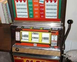 """Bally Silver Dollar Slot Machine, Model 1090-E, 46"""" x 21.25"""" x 18.5"""" Lights Up But Reels Don't Spin, Needs Repair, Includes Stand 18"""" x 24"""" x 18"""""""