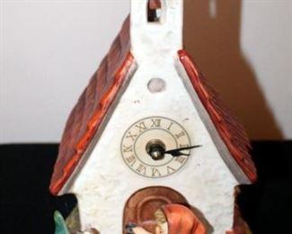 """M. J. Goebel Hummel Ceramic Chapel Clock, 12"""" Tall"""