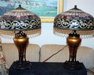 """Stained Glass Style Table Lamps With Beaded Iridescent Shades And Claw Feet, Qty 2, 24"""" Tall x 16"""" Round, Includes 24"""" Round Side Table"""