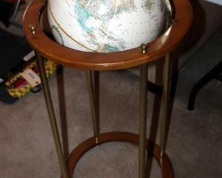 """Replogle Globes Inc. Classic Globe On Wood Stand With Brass Accents, 38"""" Tall"""