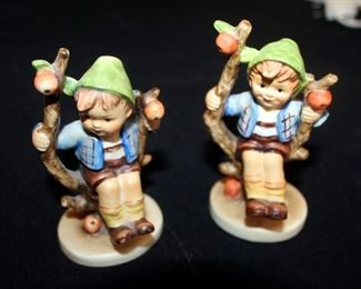 """M. J. Goebel Hummel Ceramic Figures, Qty 3, Apple Boy - Marked West Germany Number 1423-0 & Apple Girl Number 1473-0, With Hand Bell, Approx 4"""" Tall"""